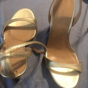 Banana Republic Gold Strap wedges